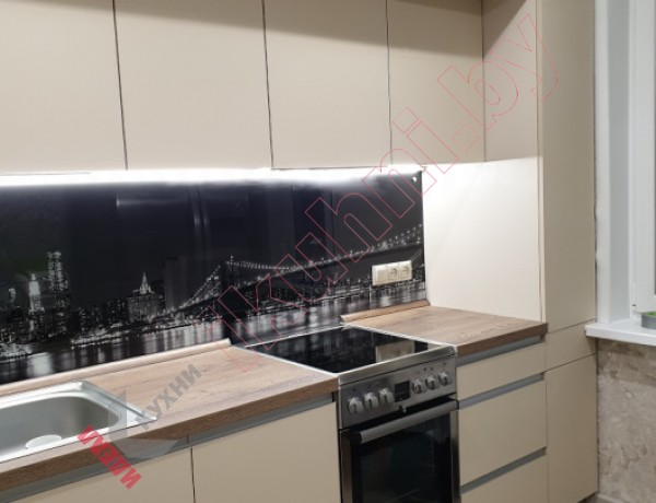 Кухня прямая с антресолями  FENIX №09