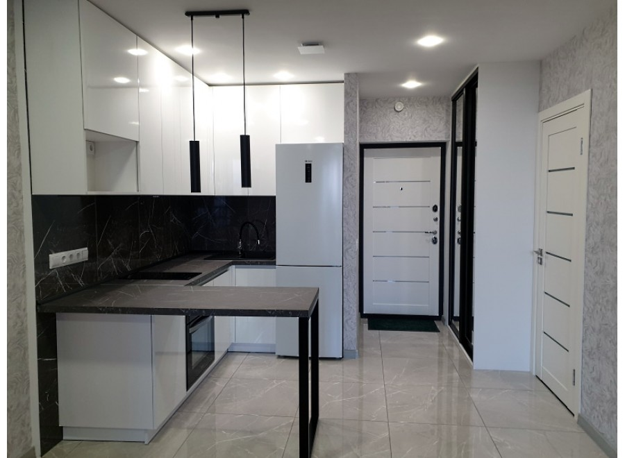 Кухня в квартиру студию с барной стойкой №07