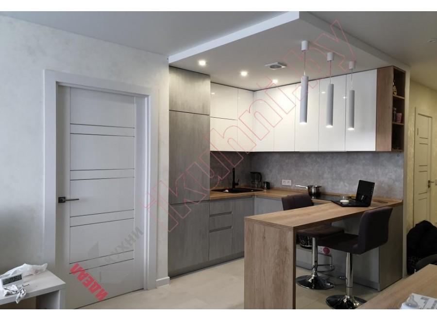 Кухня в квартиру студию с барной стойкой №06